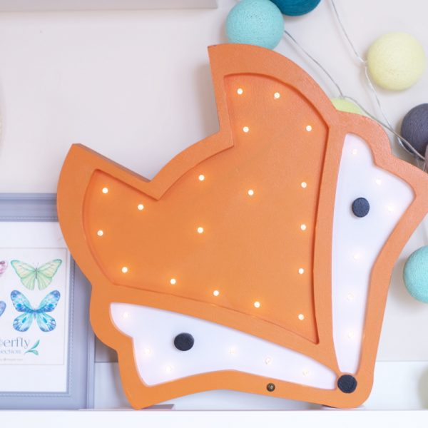fox night light lamp on shelf
