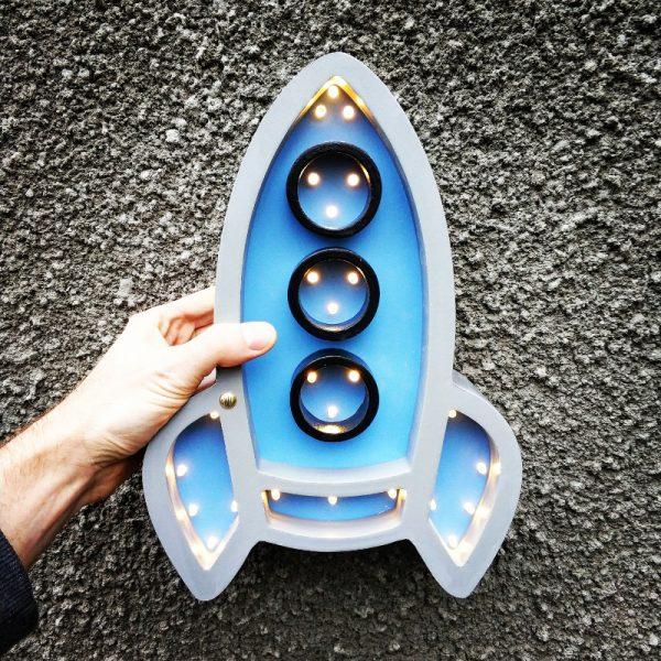 rocket lamp grey blue